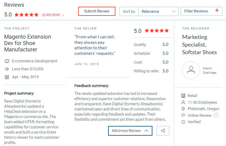 rave digital client reviews