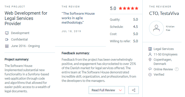 The Software House client reviews