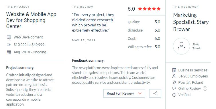 Crafton client reviews