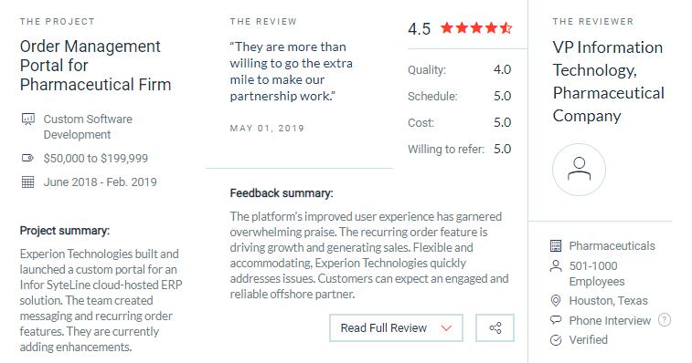 Experion Technologies client reviews