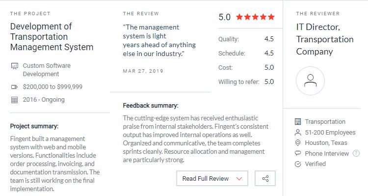 Fingent client reviews