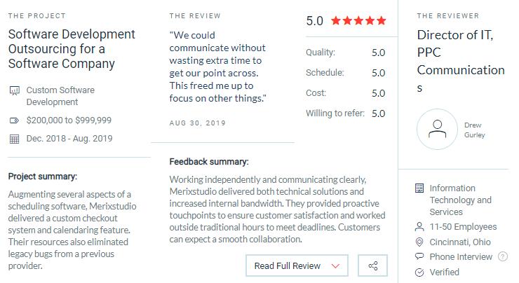 Merix Studio client reviews
