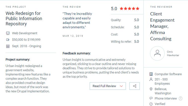 Urban Insight client reviews